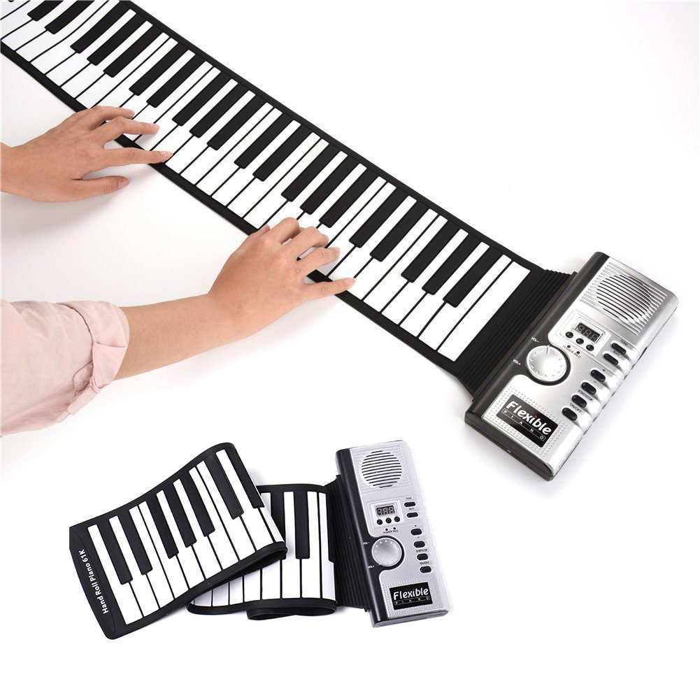 61 Keys Roll Up Piano Portable Rechargeable Electronic Hand Roll Piano With Silicone Piano Keyboard For Beginners