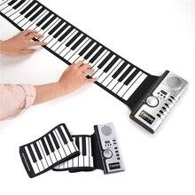 61 tasten Roll Up Piano Tragbare Wiederaufladbare Elektronische Hand Roll Piano mit Silikon Klavier Tastatur für Anfänger