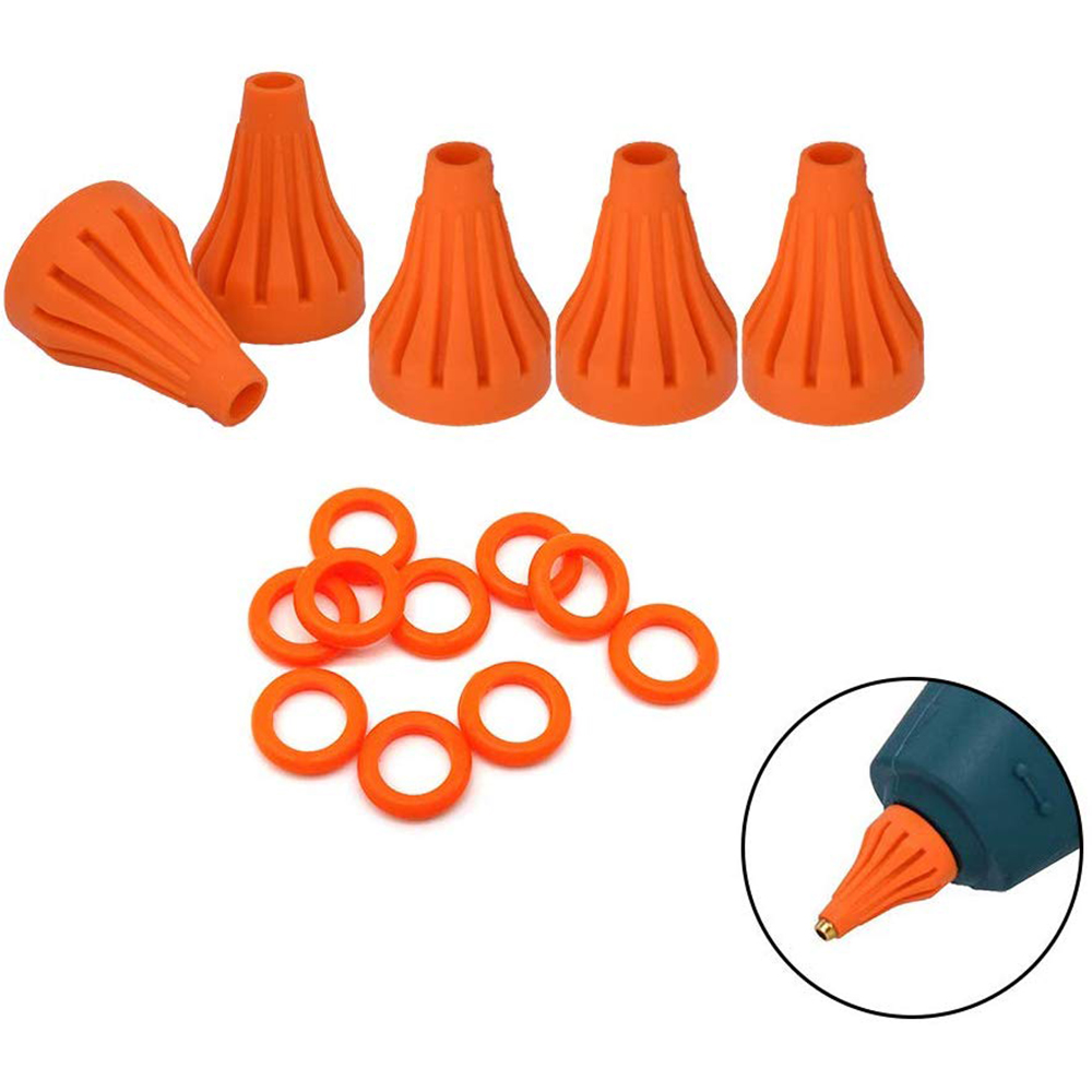 Glue Gun Silicone Heat Shields 5Pcs And Rubber Non-slip Gaskets 10Pcs For Full Size Hot Glue Gun Which Use 11mm Glue Sticks