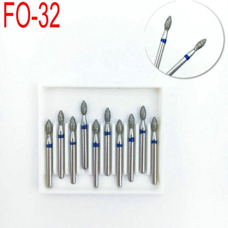 10PCS Dental Diamond FG High Speed Burs For Polishing Smoothing Dentistry Tools Dental Burs 1.6mm FO-32