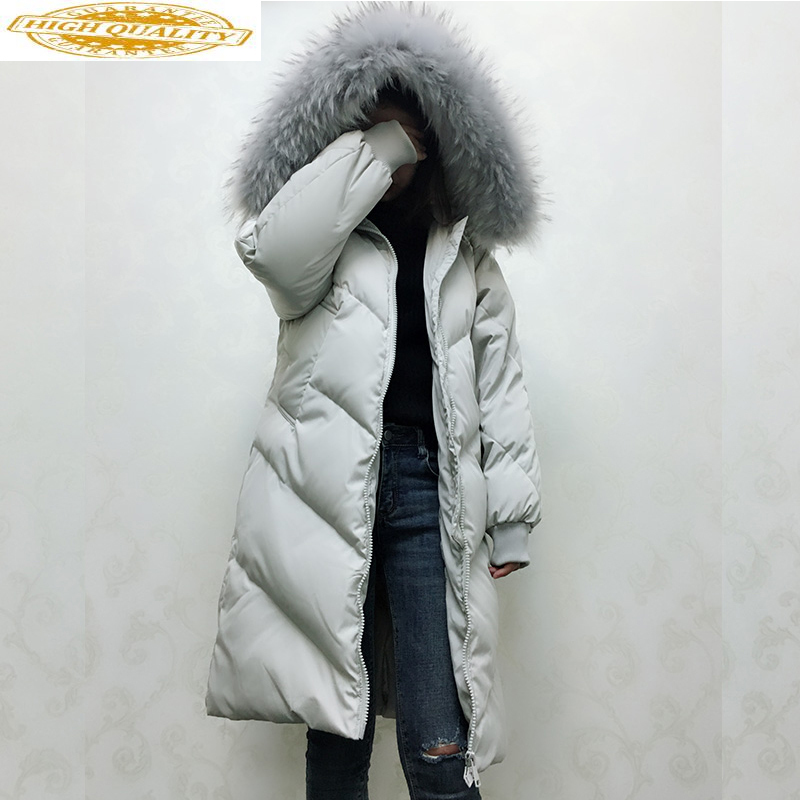Down Jacket Winter Coat Women Clothes 2019 Women Raccoon Fur Collar Long Coats Korean Loose Parka Chaqueta Mujer MY1490