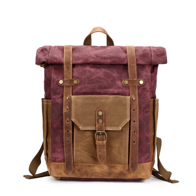 Vintage Oil Waxed Canvas Leather Backpack Large Capacity Teenager Traveling Waterproof Daypacks 14 Inch Laptops Rucksack