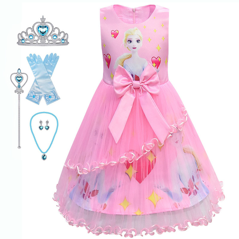 Kids Carnival Snow Queen 2 Dress Elsa Dress For Girls Birthday Elza Dress Up Princess Anna Costume Halloween Cosplay Infantil