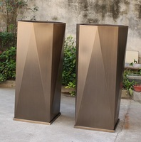 140cm High Steel Planter Pot / 1.2mm Stainess Steel with Antique Brass Coating / 38x38cm Square Base