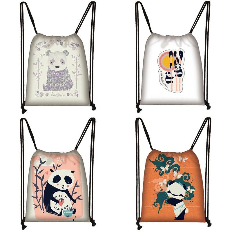 Cartoon Panda Print Drawstring Bag Women Travel Bag Teenager School Bag Brown Girl And Boy Backpack Fashion Female Storage Bag Z