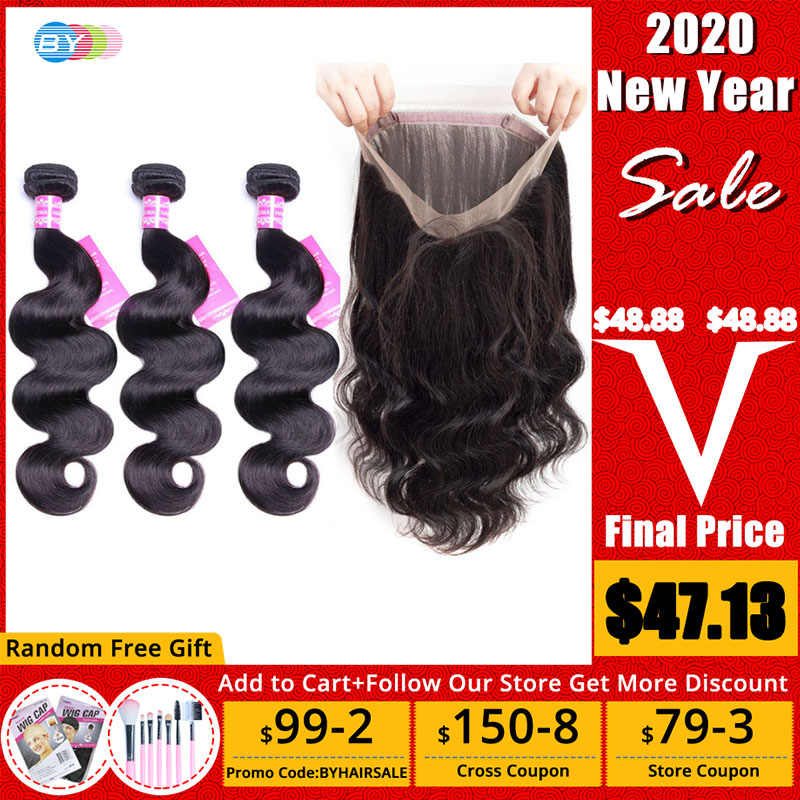 [BY] 360 Frontal With Bundles Brazilian BodyWave Bundles With Frontal Closure Human Hair Lace Frontal Closure With Bundles Remy