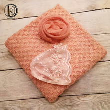 Don&Judy 150x100cm Fabric Blanket with Matched 60x40cm Wrap and Hat 3pcs/set Background Bonnet for Newborn Photography Baby Prop