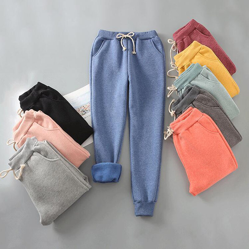 Women Pants Autumn Winter Warm Harem Pants Women Thick Velvet Sweatpants Female Loose Pants Winter Casual Trousers Plus Size