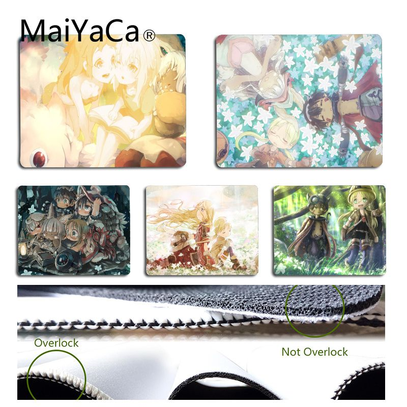 MaiYaCa Top Quality Made In Abyss Anime Gamer Speed Mice Retail Small Rubber Mousepad Size For 18x22cm 25x29cm Rubber Mousemats