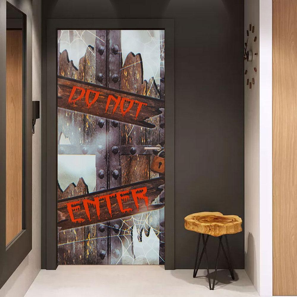 2Pcs/Set 3D Door Wallpaper Murals Wall Stickers Halloween Self-Adhesive Vinyl Removable Art Door Decals DIY Home Decor