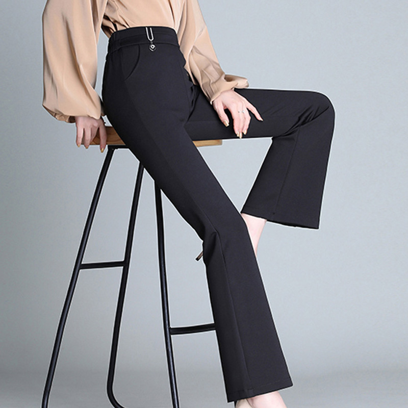 Women's Pants Autumn Winter Casual High Waist Trousers Flare Pants Solid Color Slim Fit Elastic Casual Ladies Pants 3