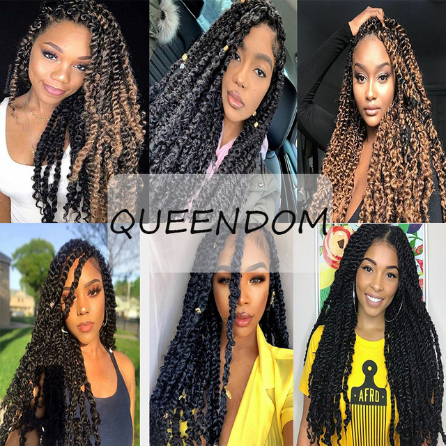 Long Passion Twist Braiding Crochet Hair Extensions Water Wave Crochet Braids Pre Twisted Synthetic Bohemian Hair Ombre Blonde| |   -