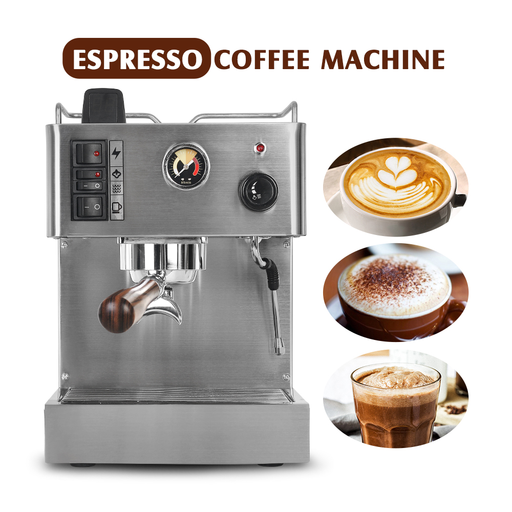 ITOP 1050W Semi-automatic Espresso Coffee Maker Machine 3.5L Stainless Steel Coffee Machine Semi-commercial Italian Coffee Maker