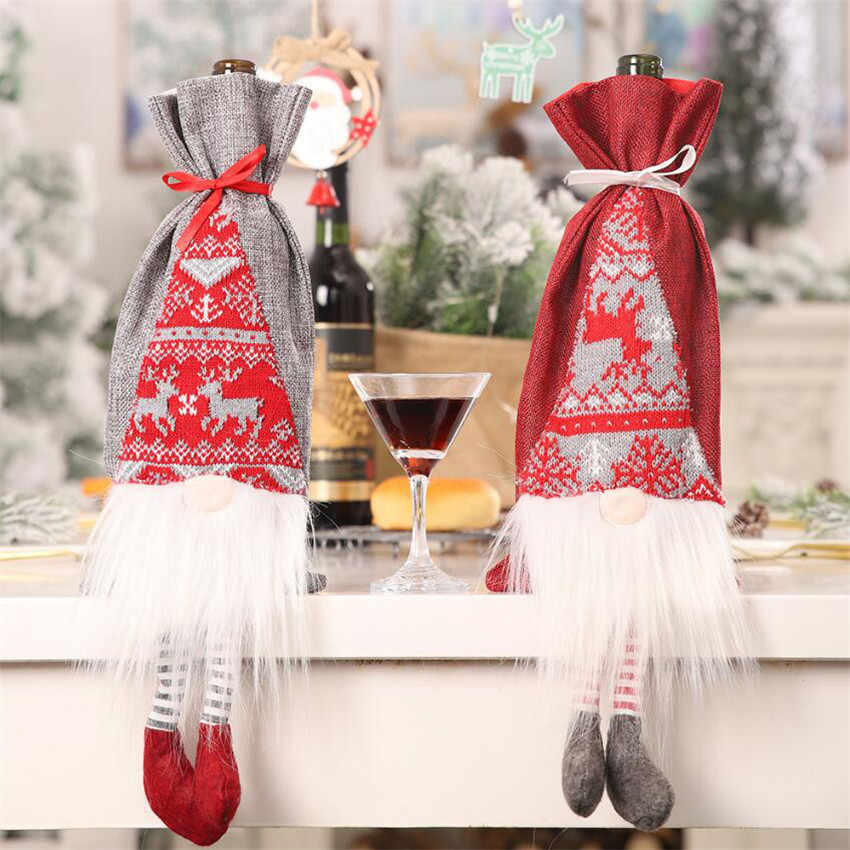 Christmas Wine Bottle Cover Decor Set Santa Claus Snowman Deer dolls Bottle Bag Clothes Kitchen Decor New Year Xmas Dinner Party