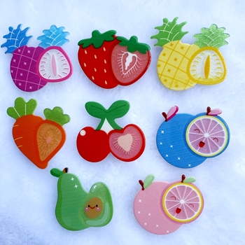 8Pcs Acrylic Lovely Mixed Fruit series Flatback Cabochon Scrapbook Kawaii DIY Embellishments Accessories D74
