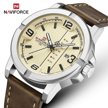 NAVIFORCE 9177 Mens Watches Leather Strap Waterproof Clock with box
