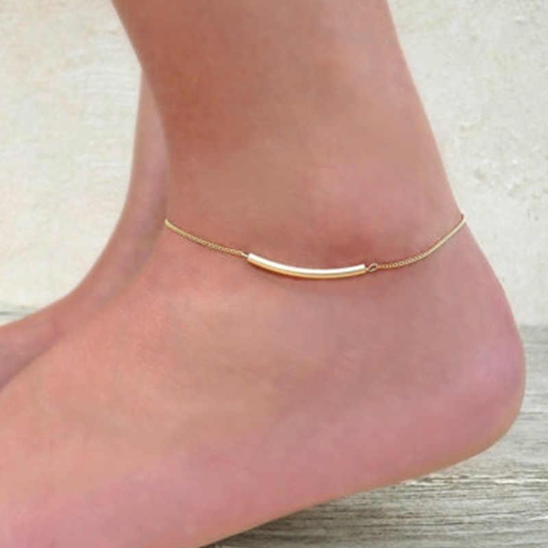 ใหม่แฟชั่นปรับ Sliver GOLD สีขาข้อเท้าเท้าข้อเท้าสร้อยข้อมือสำหรับแฟนผู้หญิงของขวัญเครื่องประดับ
