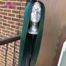 Али Коко прозрачный 13x4x1 бразильские прямые человеческие волосы парики 150% темно-зеленый/красный/фиолетовый цвет Remy длинные предварительно ...