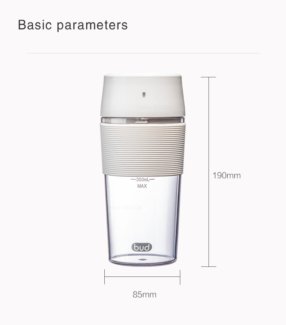 H9ec9ec750ec64e448f74c21376975cc81 XIAOMI MIJIA Bud BR25E Blender Portable Fruit Cup Electric Kitchen Mixer Juicer food processor Machine 300ML Magnetic charging