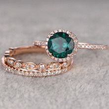3Pcs/Set Exquisite Rose Gold Wedding Ring Set Bridal Wedding Green Gems Crystal Engagement Jewelry Anniversary Gift for Women exquisite 3 color silver gold rose gold wedding ring set bride engagement ring promise jewelry anniversary gift for women