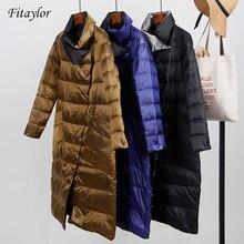 Женская ультралегкая куртка Fitaylor, двусторонний приталенный пуховик, однобортная зимняя парка на белом утином пуху