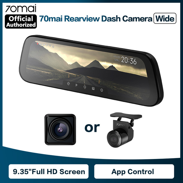 70mai Rearview Mirror Camera Wide 9.35 inch Full Screen Stream Media Dash Cam Wifi 1080P 70 Mai Car DVR Rear View Camera