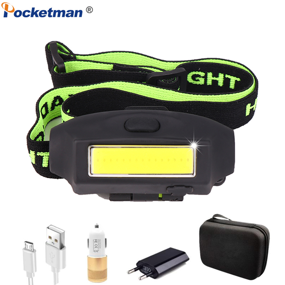 USB Rechargeable Headlamp With Built-in Battery XOB LED Hat Clip Headlight Portable Waterproof Head Light Head Lamp