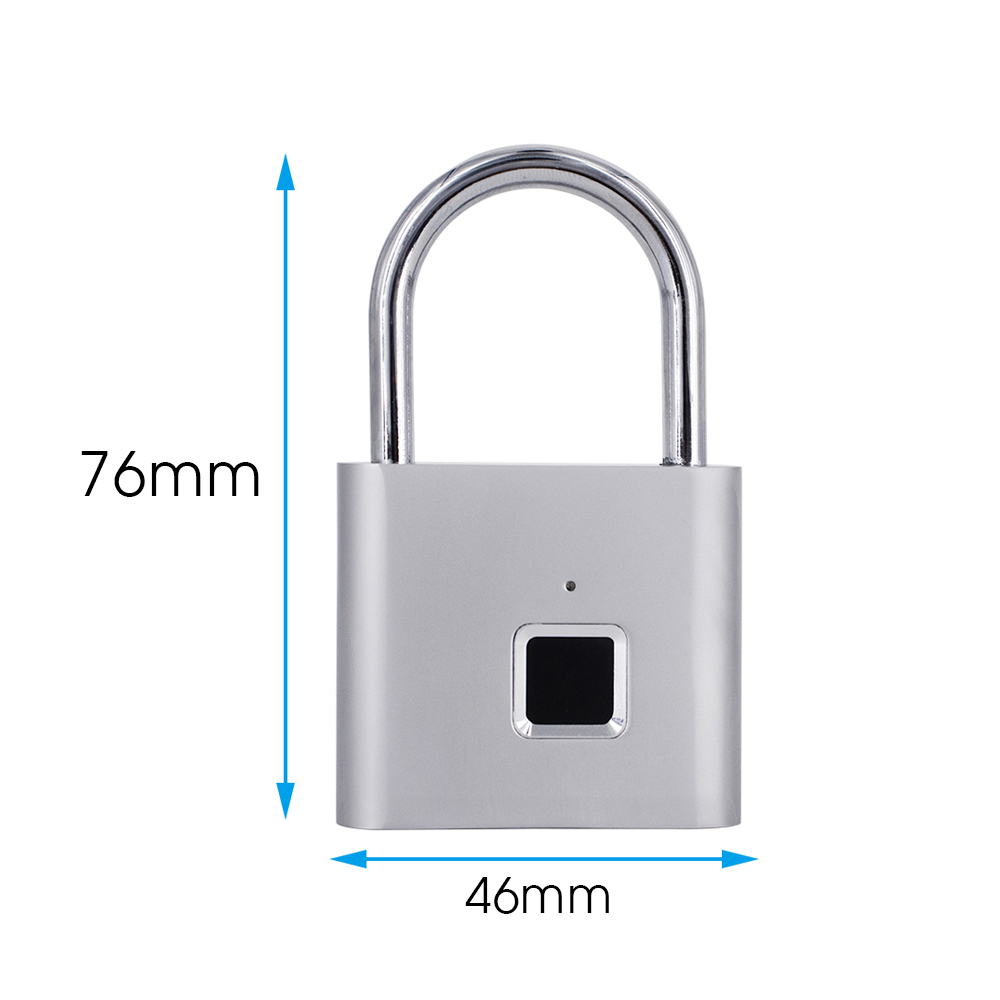 USB Rechargeable and Keyless Smart Fingerprint Padlock for Luggage and Cabinet with Anti-Theft Security 4