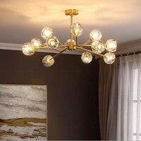 Pós moderna americano lustre de cristal cobre iluminação e luxo sala jantar lustre feijão mágico molecular pendurado lâmpadas lustres