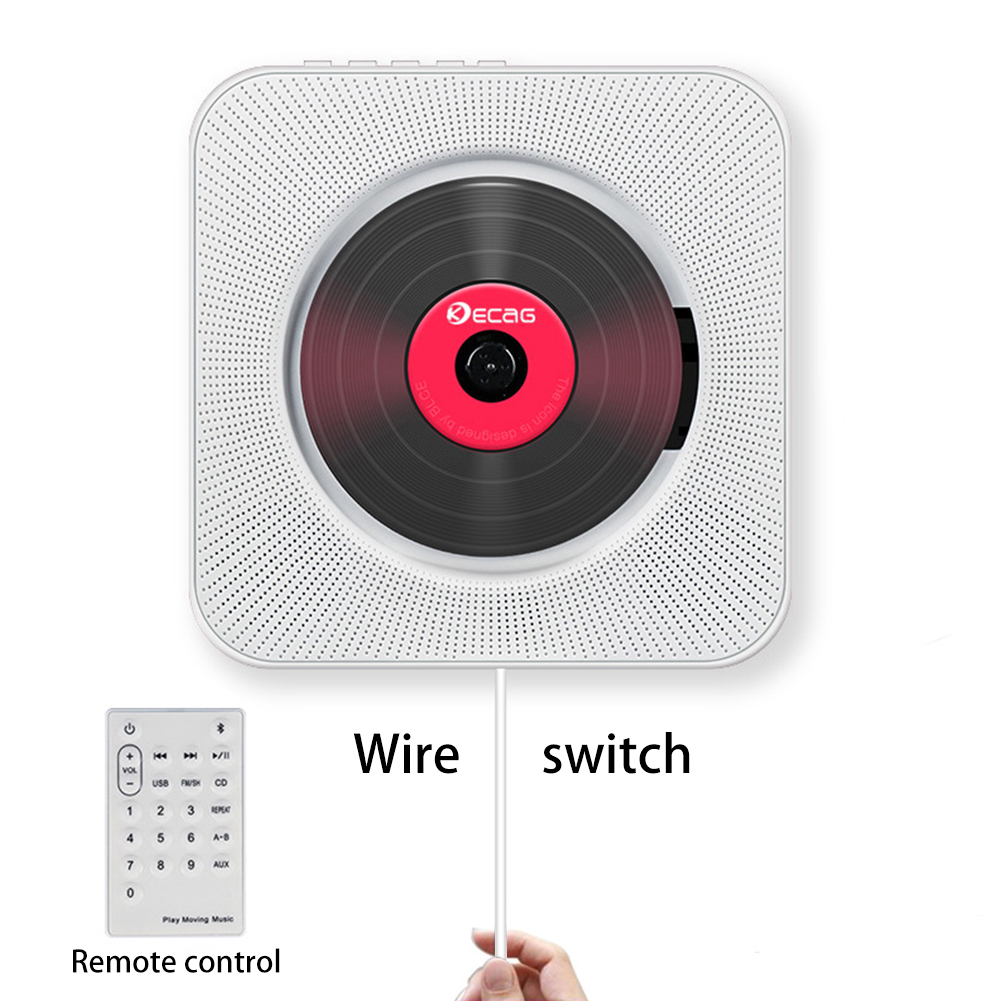 Portable Bluetooth CD Player Wall Mountable Home Audio Boombox with Remote Control FM Radio Built-in HiFi Speakers USB MP3