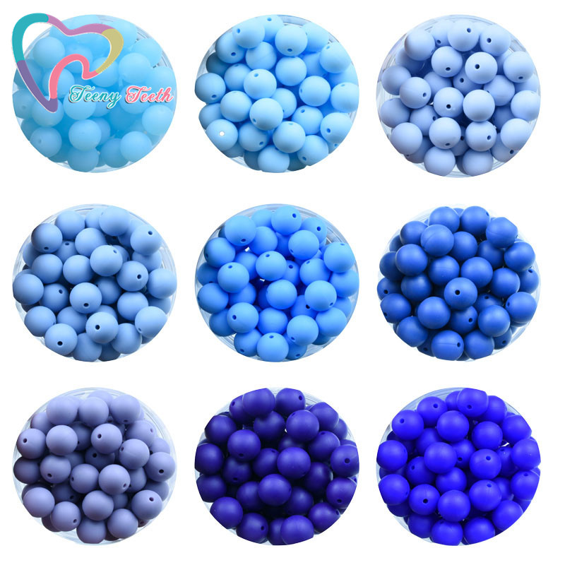 50 PCS Boys Blue 12 MM Silicone Beads Round Shaped Baby Teething Beads Food Grade Baby Teethers For DIY Necklace Making