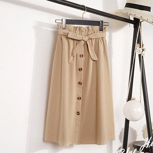 summer Autumn Skirts Womens Midi Knee Length Korean Elegant Button High Waist Skirt Female Pleated Skirts Clothes 3024 01