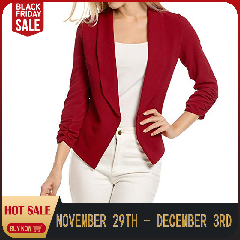 Female Jacket Manteau Femme Hiver Women 3/4 Sleeve Blazer Open Front Jacket One Button Suit Lady Red Coats Office Work Suits7.17