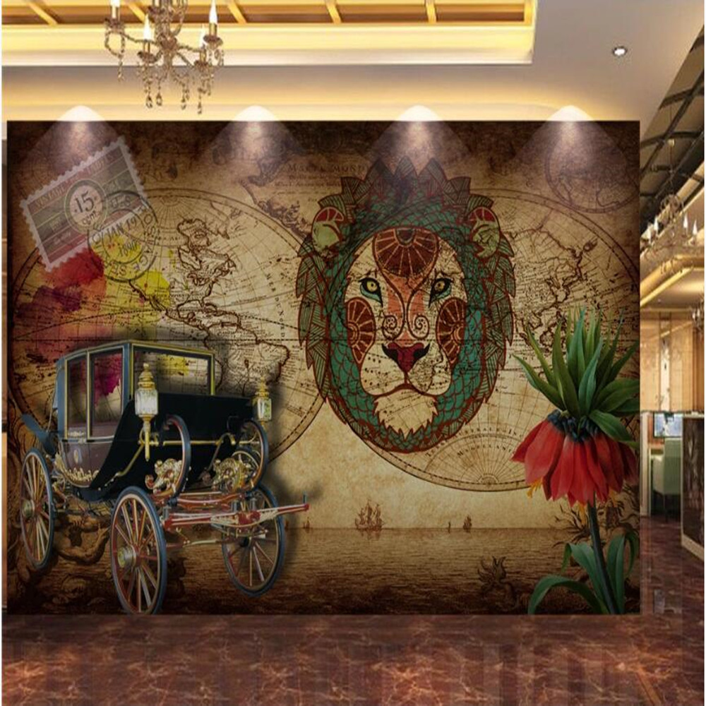 milofi large <font><b>wallpaper</b></font> mural custom <font><b>3D</b></font> retro vintage <font><b>car</b></font> lion head TV background <font><b>wallpaper</b></font> mural image