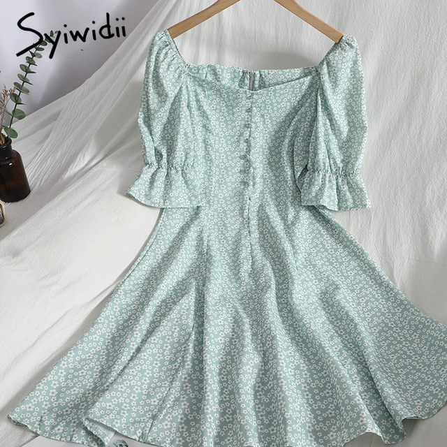 Syiwidii Floral Print High Waist Dresses Women Breasted Puff Sleeve Square Collar Zipper A-line Clothing 2021 Summer Fashion New 4