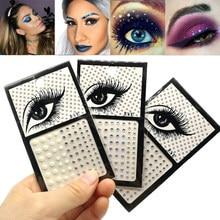 Brilho sobrancelha maquiagem rosto olhos diamante tatuagem temporária rocha strass 3d delineador adesivos de cristal para festa festival