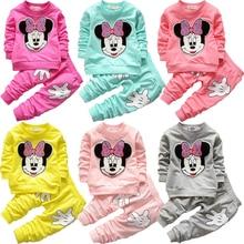 Bebé niñas Mickey Minnie conjunto de ropa de Otoño de algodón conjuntos de ropa para niñas bebé la camisa y pantalones niños ropa conjunto