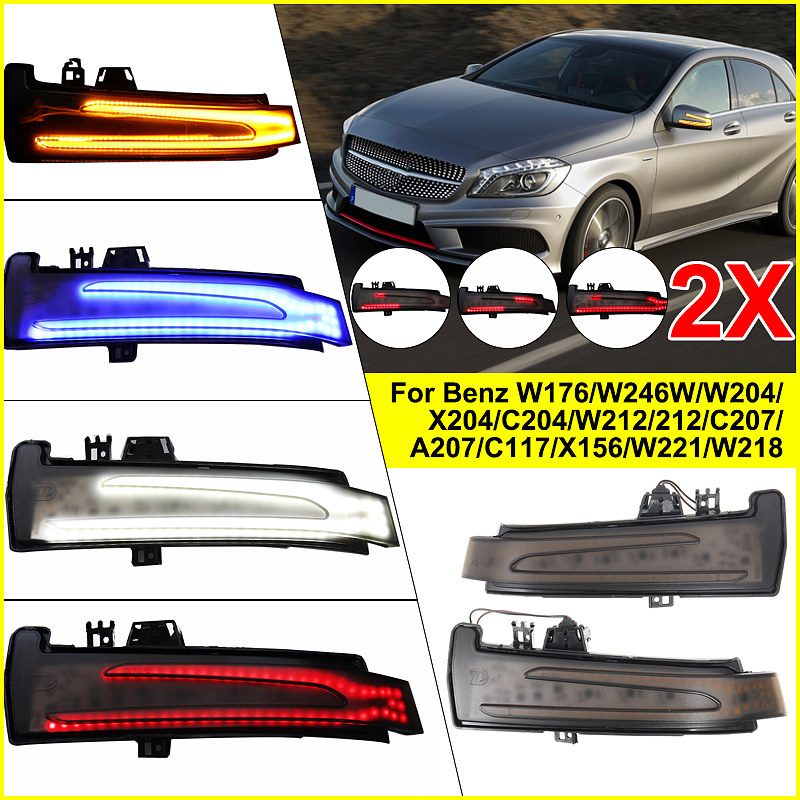 2PCS Dynamic LED Side Wing Mirrors Indicator Flowing Turn Signal Light Blinker Startup Breath Light for Mercedes Benz W212 W204