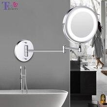 الحائط مرآة حمام مرآة المكياج المزودة بمصباح ليد 1X/5X التكبير قابل للتعديل مرآة لمستحضرات التجميل USB شحن اللمس يعتم المرايا