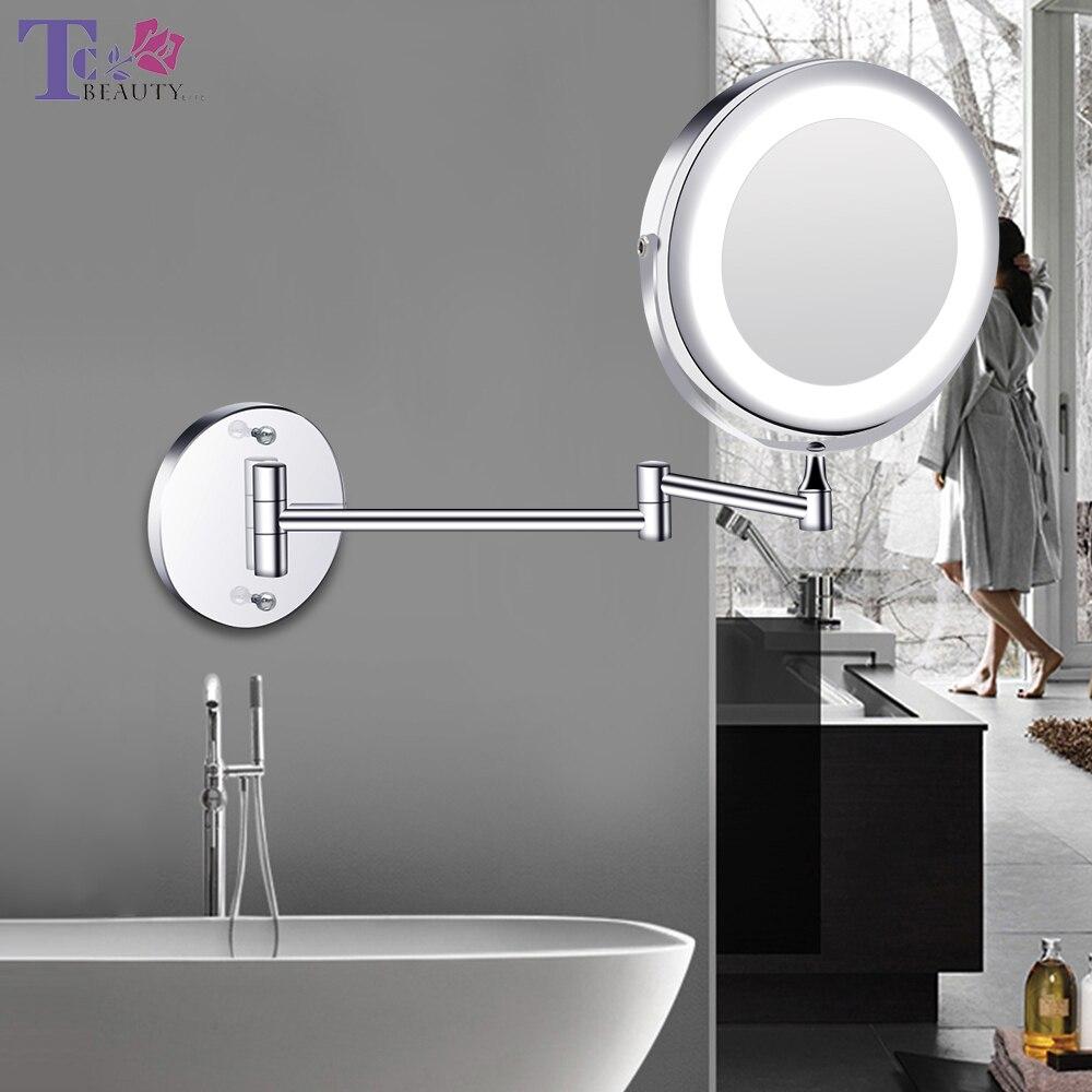 Montado Na parede Do Banheiro Espelho Espelho de Maquiagem Levou 1X/5X Carregamento USB Toque Escurecimento Espelhos Espelho de Maquilhagem Ampliação Ajustável