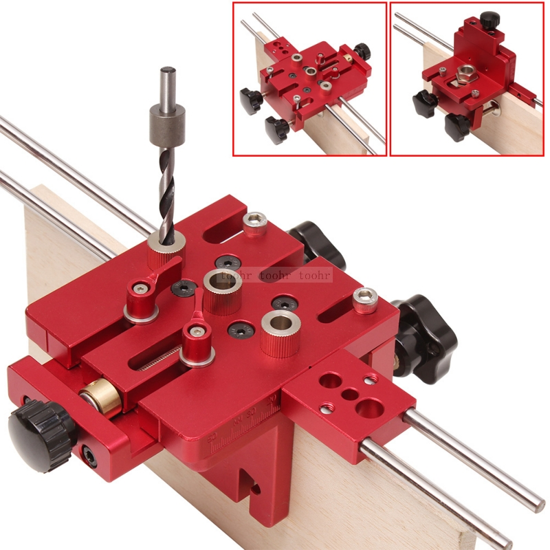 Doweling Jig Woodworking 3 In 1 Hole Drill Punch Positioner Guide Locator Pocket Hole Jig Joinery Kit Wood Working DIY Tools