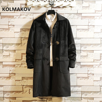 2019 new style winter coat Men's casual coats Horn Button trench coat Men fashion jackets,high quality overcoat size M-5XL