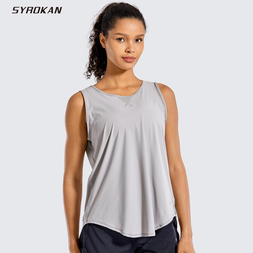 SYROKAN Women's Activewear Sleeveless Shirts Mesh Yoga Open Tie Back Workout Tank Tops-Soft