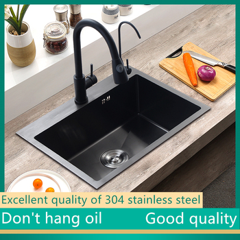 Kitchen 304 stainless steel manual wire drawing thickening single sink sink package large single sink dish sink sink sink grid