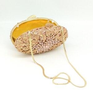Image 3 - Boutique De FGG Champagne Peach Color Women Crystal Bags Evening Purse Metal Hardcase Wedding Party Minaudiere Handbag Clutch