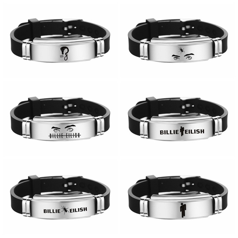MIQIAO Billie Eilish Bracelet for Women Men Black Silicone Armband Wristband Stainless Steel Bangles Fashion Jewelry Fans Gift|Charm Bracelets|   - AliExpress