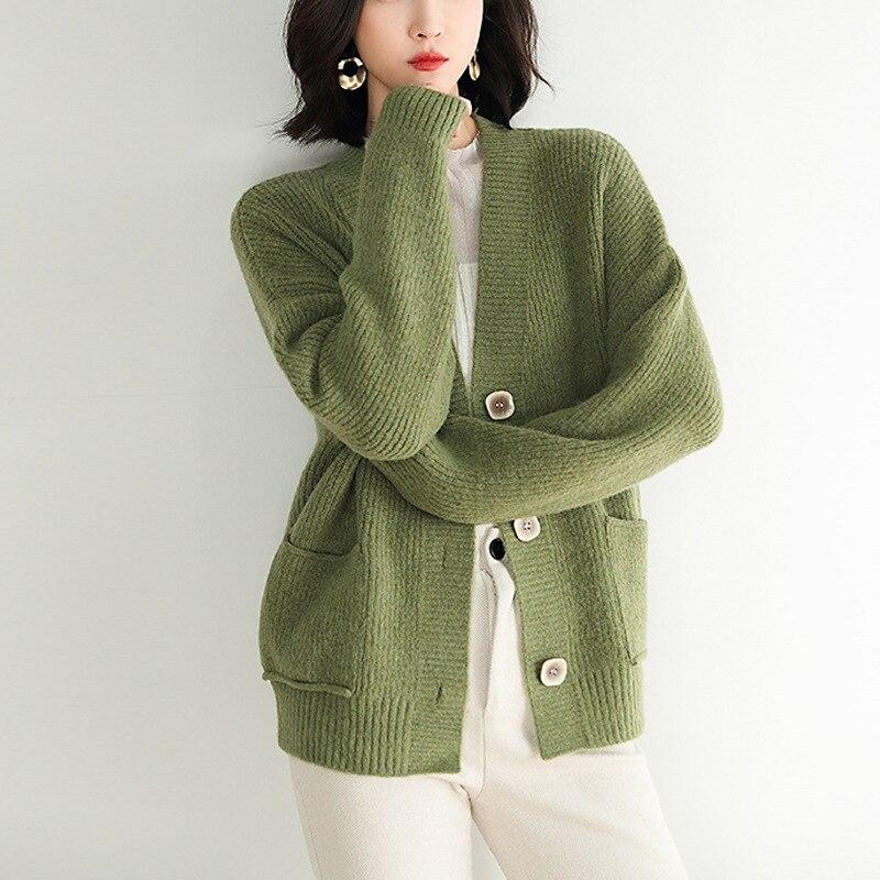 Mode 2019 automne hiver femmes pull Cardigans vert bleu solide coréen Cardigans simple boutonnage pull haut harajuku