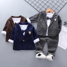 Boys Spring 3piece Clothing Sets Gentlemens suit Kids Button Bow Suit Children Coat+Pants+T-shirt set