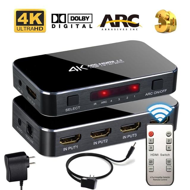 Switch HDMI 4x1 4K @ 60Hz Audio Ottico TOSLINK Ultra HD 4 Porte HDMI Switcher 1080p 3D per Xbox PS4 Lettore Blu Ray Roku