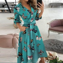 Women Dresses Summer Sexy V Neck Floral Print Boho Beach Dress Ruffle Short Sleeve A Line Mini Dress Sundress Robe 2021